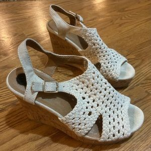Cork wedges tall heels woven canvas with buckles